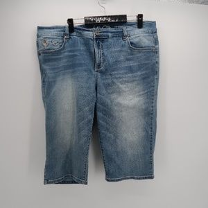 Inc Denim Womens Slim Tech Fit Capri Jean Shorts